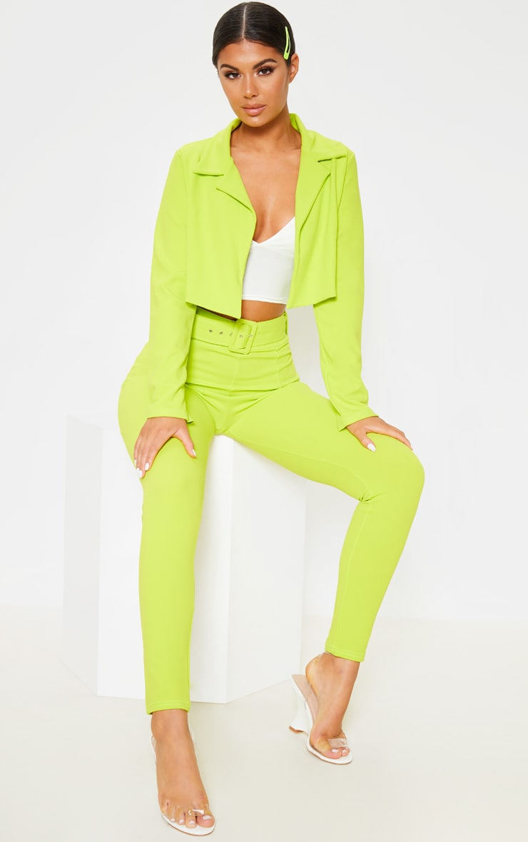 Neon Lime Cropped Suit Blazer 4