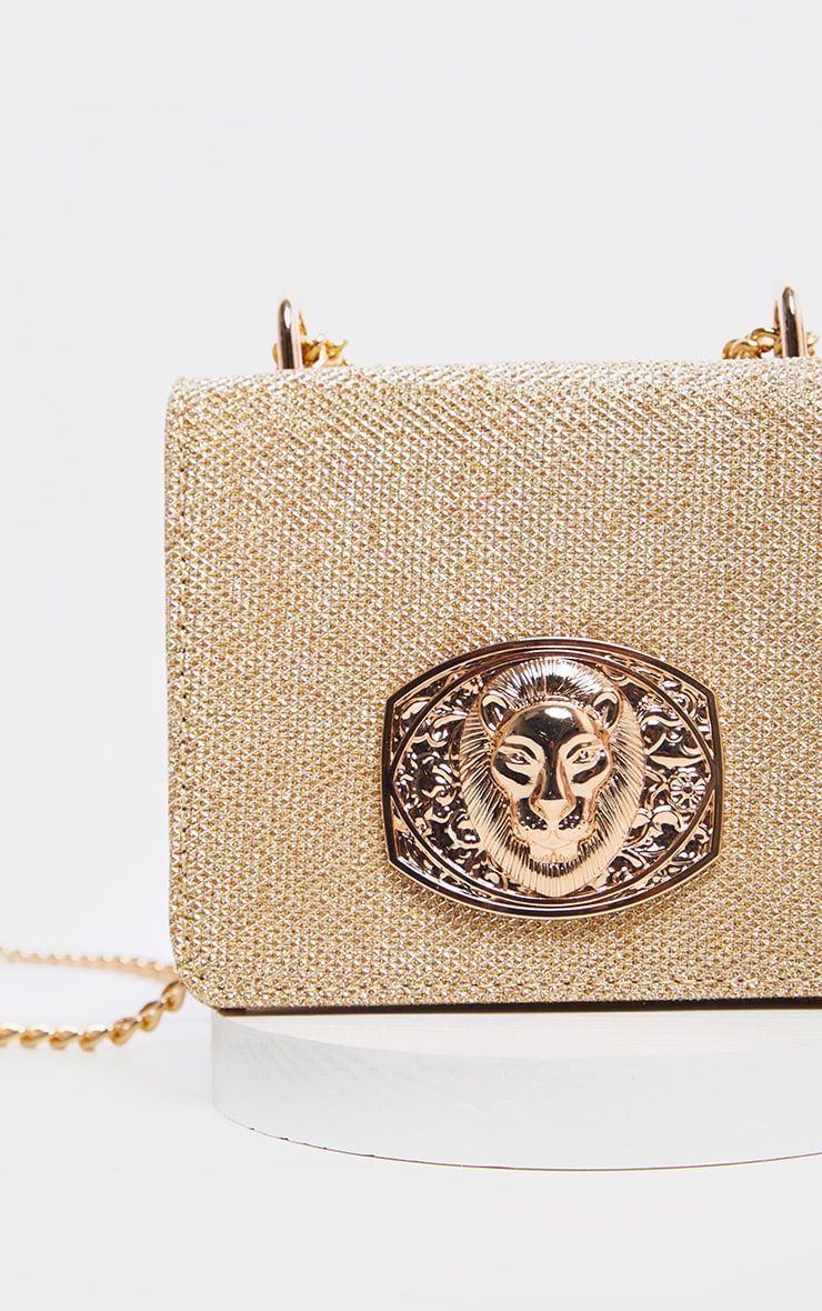 Gold Glitter Lion Head Trim Cross Body Bag   3