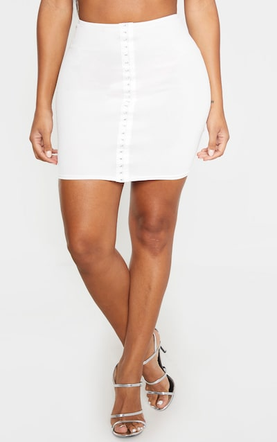 Shape Cream Hook And Eye Panelled Bodycon Skirt