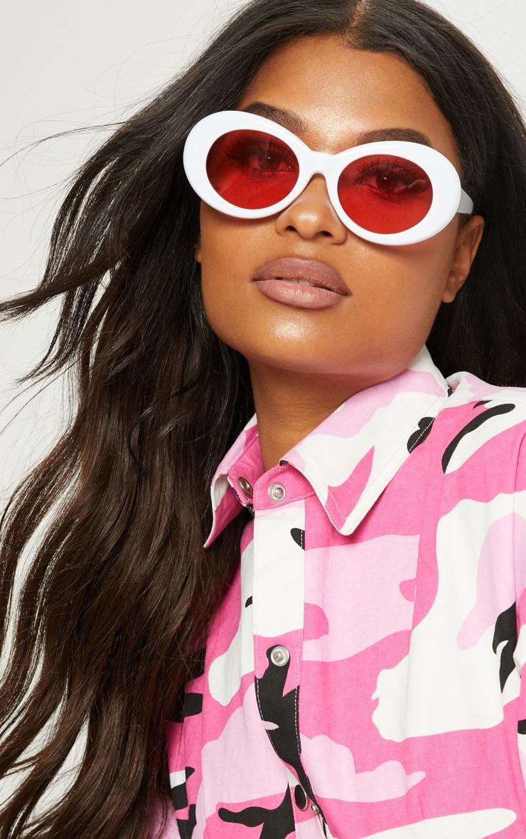White Retro Oval Sunglasses 1