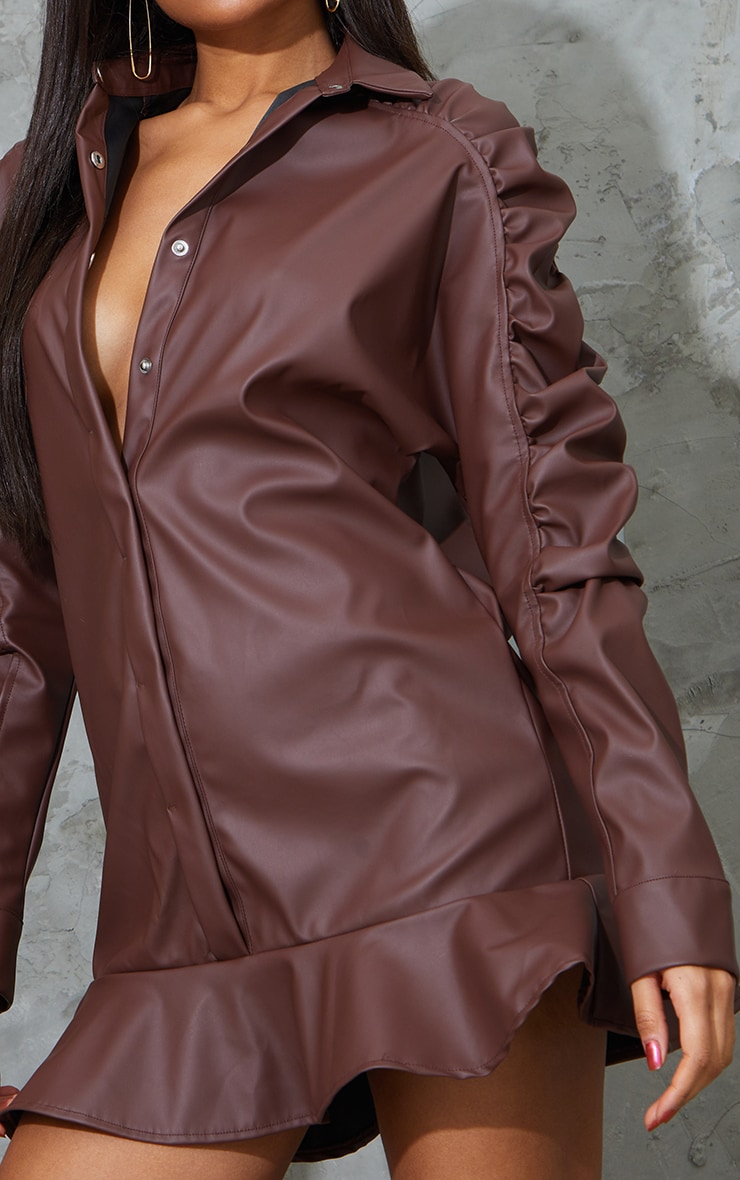 Chocolate Faux Leather Ruched Sleeve Frill Hem Shift Dress 4