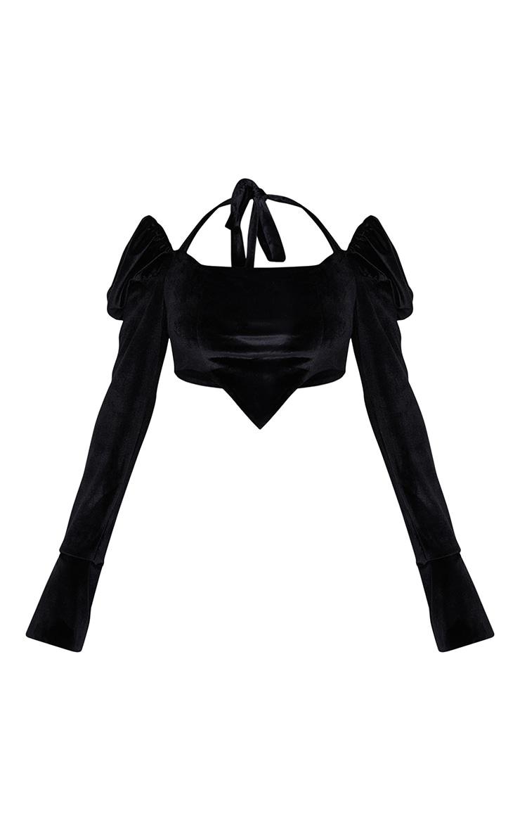 Black Velvet Halterneck Puff Long Sleeve Point Hem Crop Top 5
