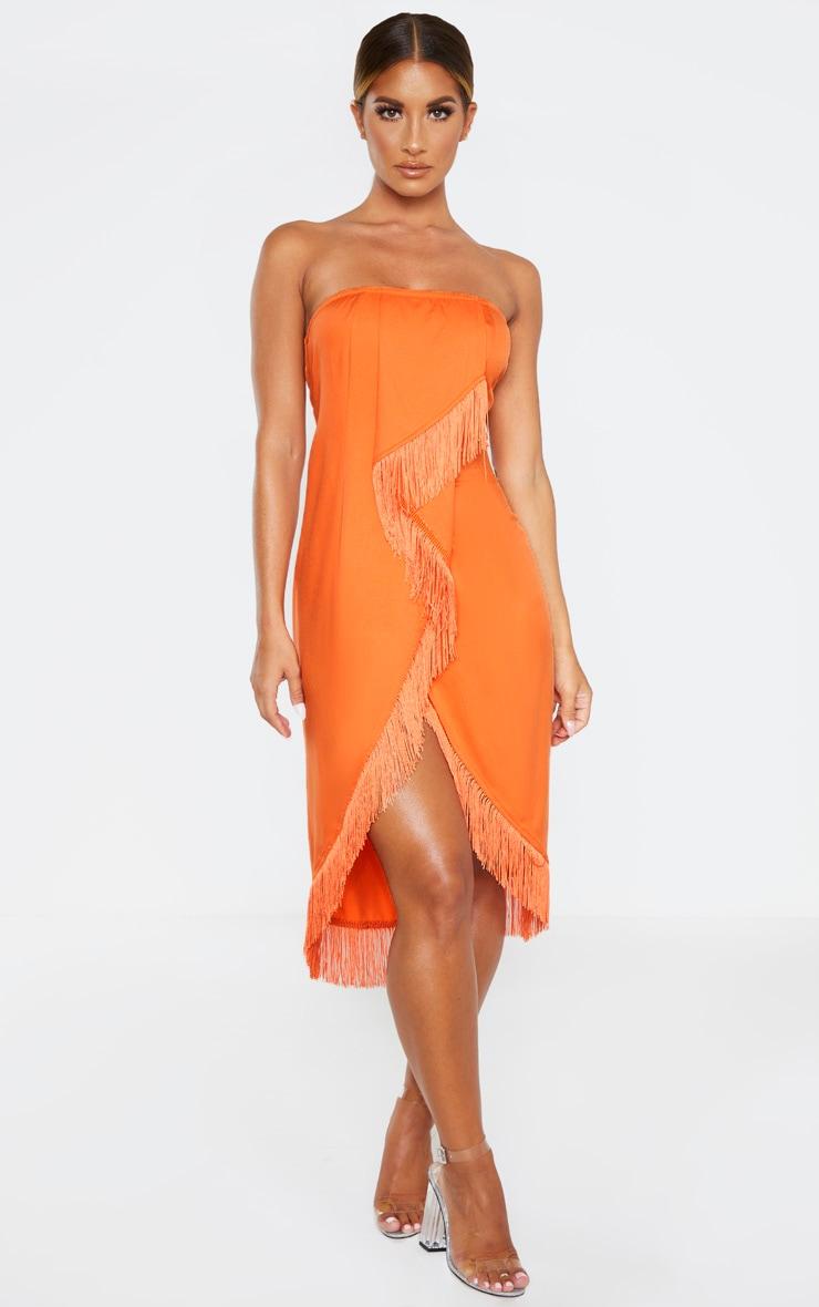 Orange Bandeau Tassel Front Midi Dress 1