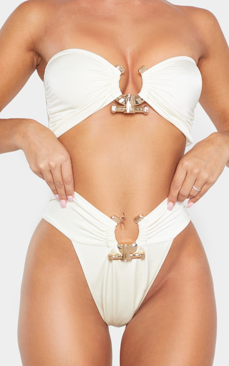 Cream Hammered Trim Bikini Bottom 6