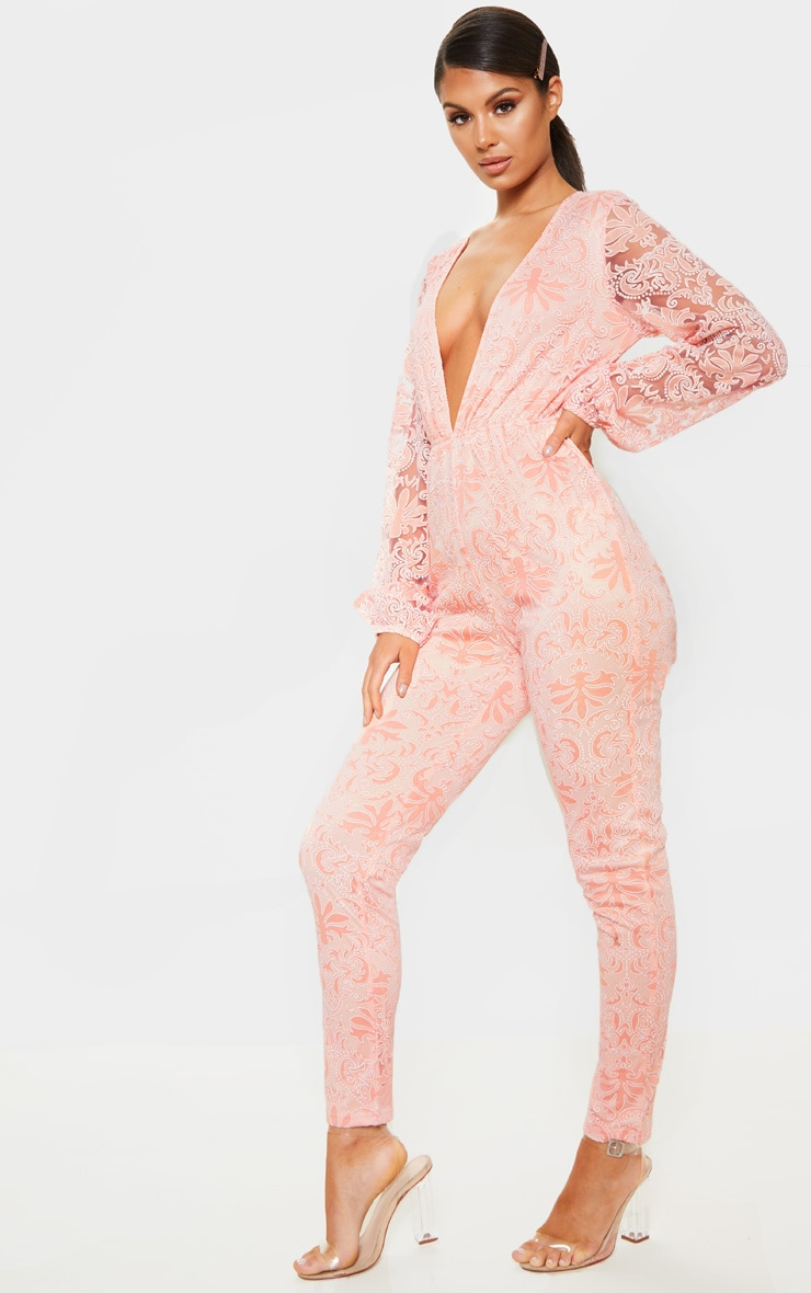 Dusty Pink Sheer Paisley Long Sleeve Jumpsuit 3