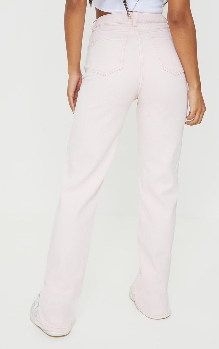 Washed Pink Split Hem Jeans 3