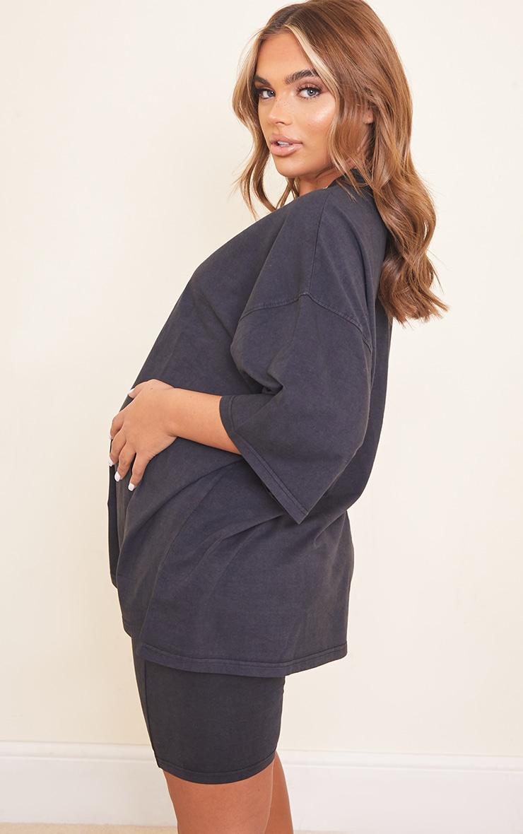 Maternity Acid Wash Grey Oversized Cotton T-Shirt 2