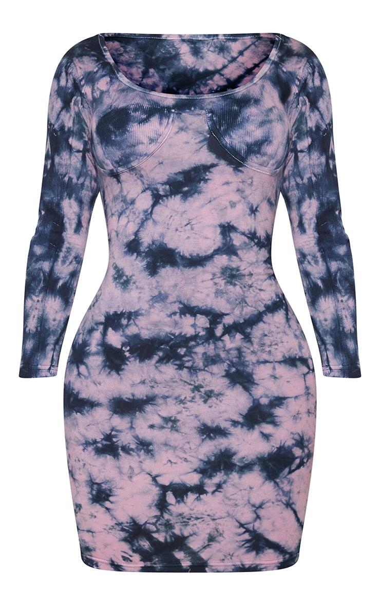 Shape Mauve Tie Dye Cotton Cup Detail Bodycon Dress 5