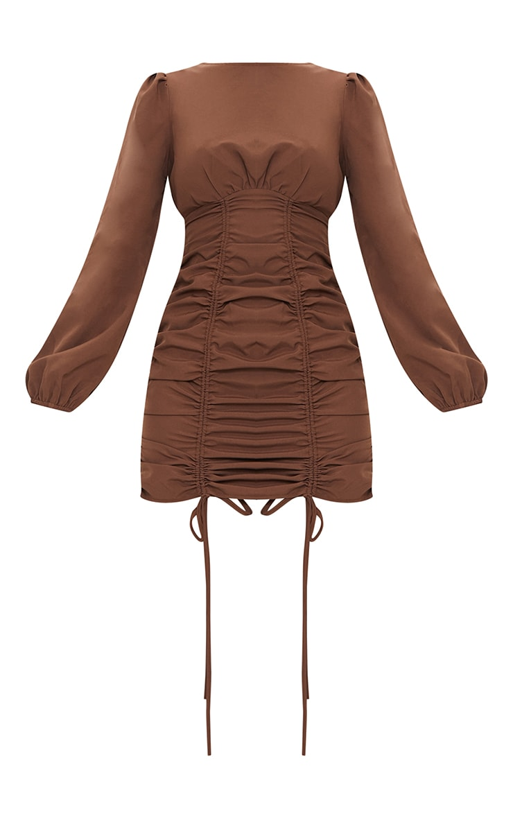 Chocolate Ruched Long Sleeve Bodycon Dress 5