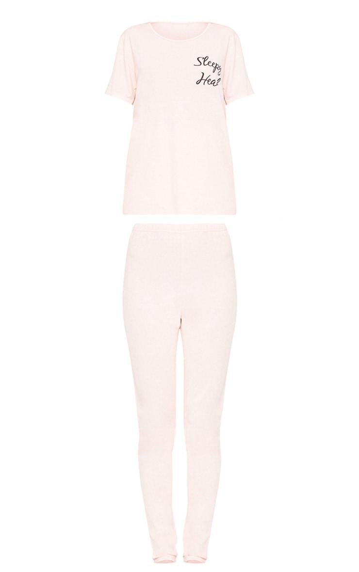 Ensemble pyjama avec slogan Sleepy Head couleur chair  3