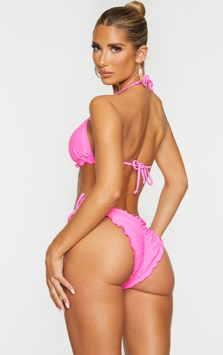Hot Pink Frill Edge Padded Bikini Top 2