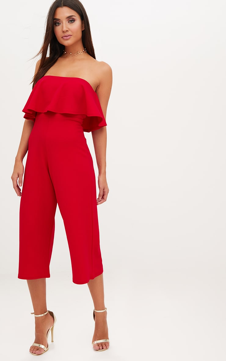 Red Bardot Double Layer Culotte Jumpsuit 1