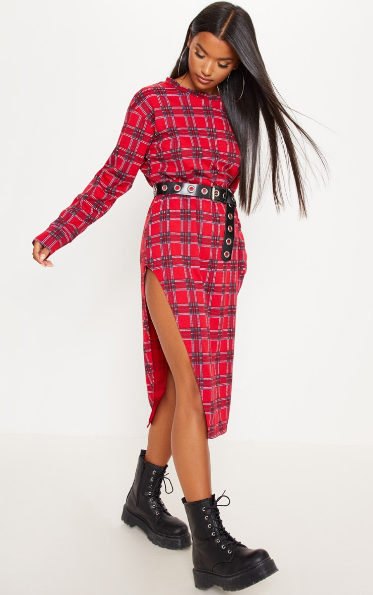 Red Tartan Print Midi Jumper Dress 4