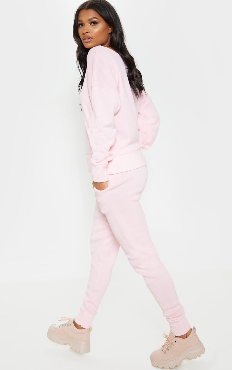 Pink Jogger Jumper Knitted Lounge Set 2