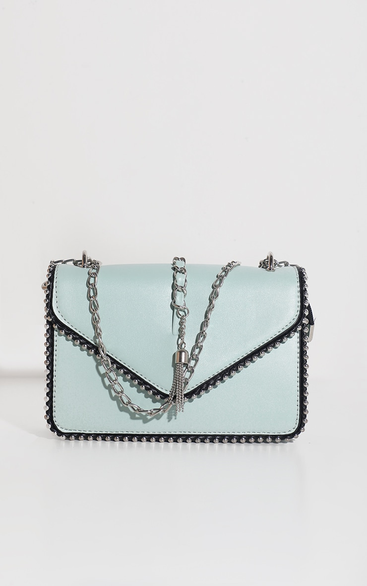 Mint PU Chain and Tassel Trim Cross Body Bag 1