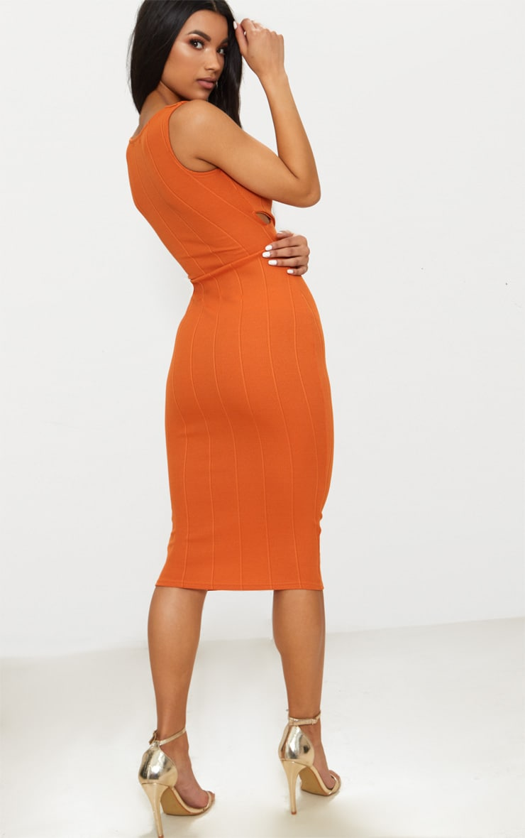 Burnt Orange Bandage Cross Over Detail Midi Dress 2