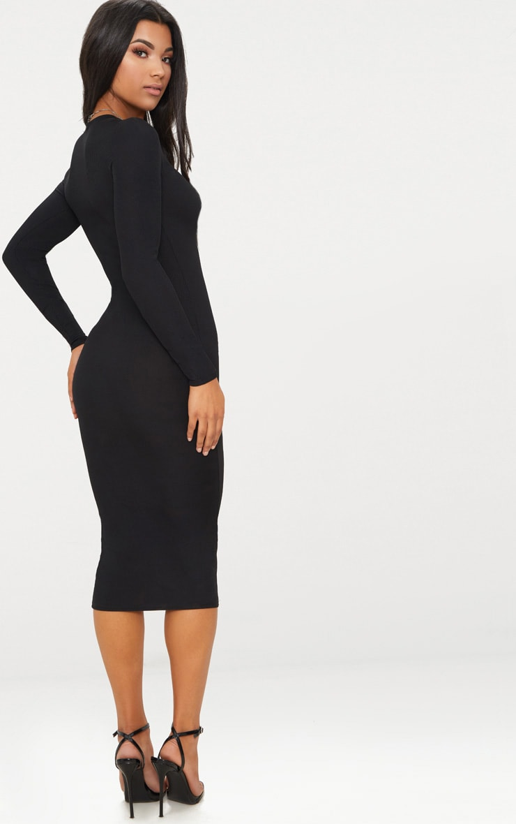 Black Ribbed Long Sleeve Midi Dress 2