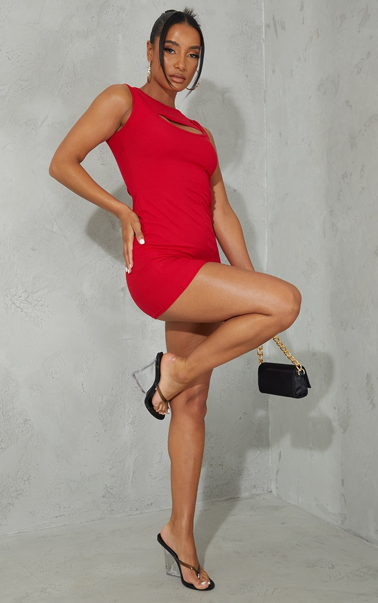 Red Ribbed Sleeveless Layered Detail Bodycon Dress 1