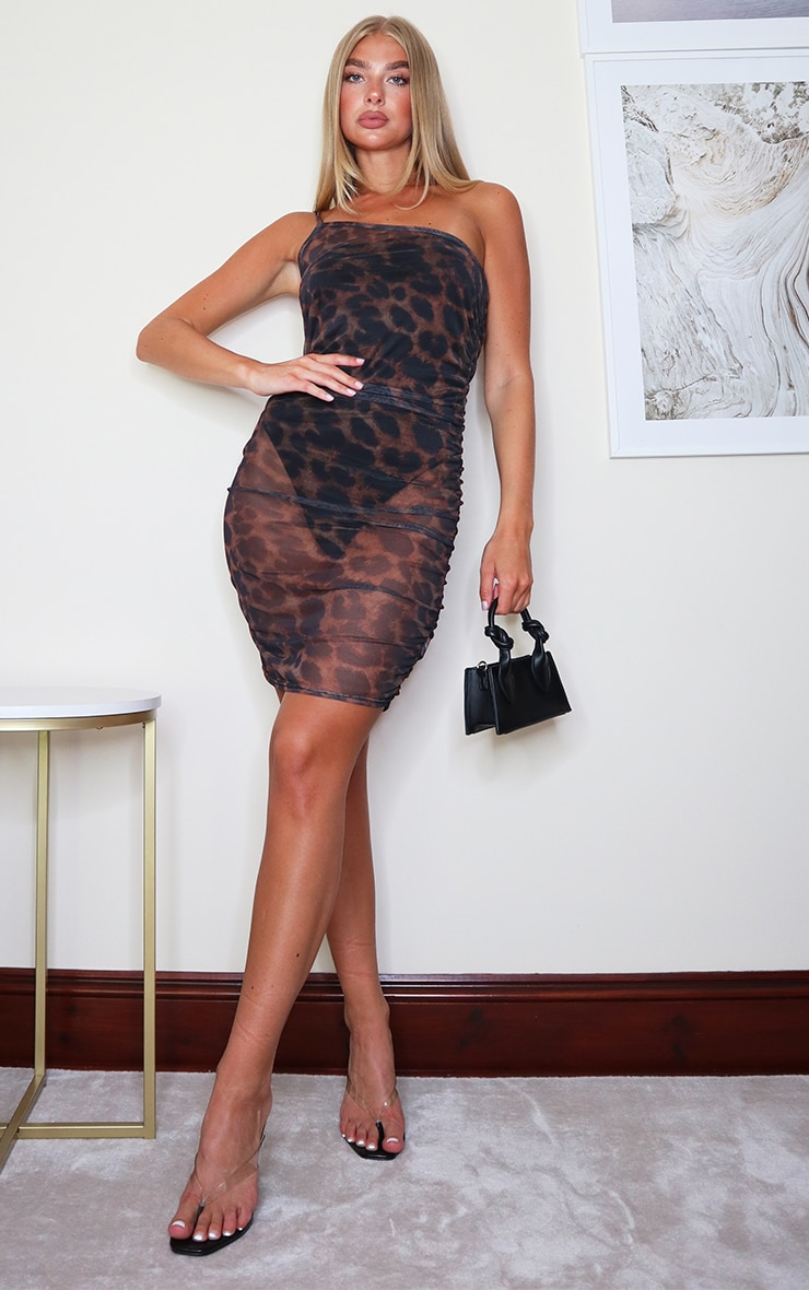 Brown Leopard Print Mesh One Shoulder Ruched Bodycon Dress 3