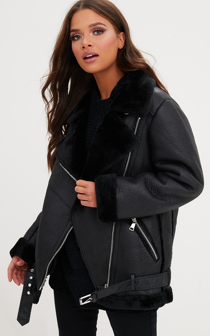 Black PU Aviator Jacket 1