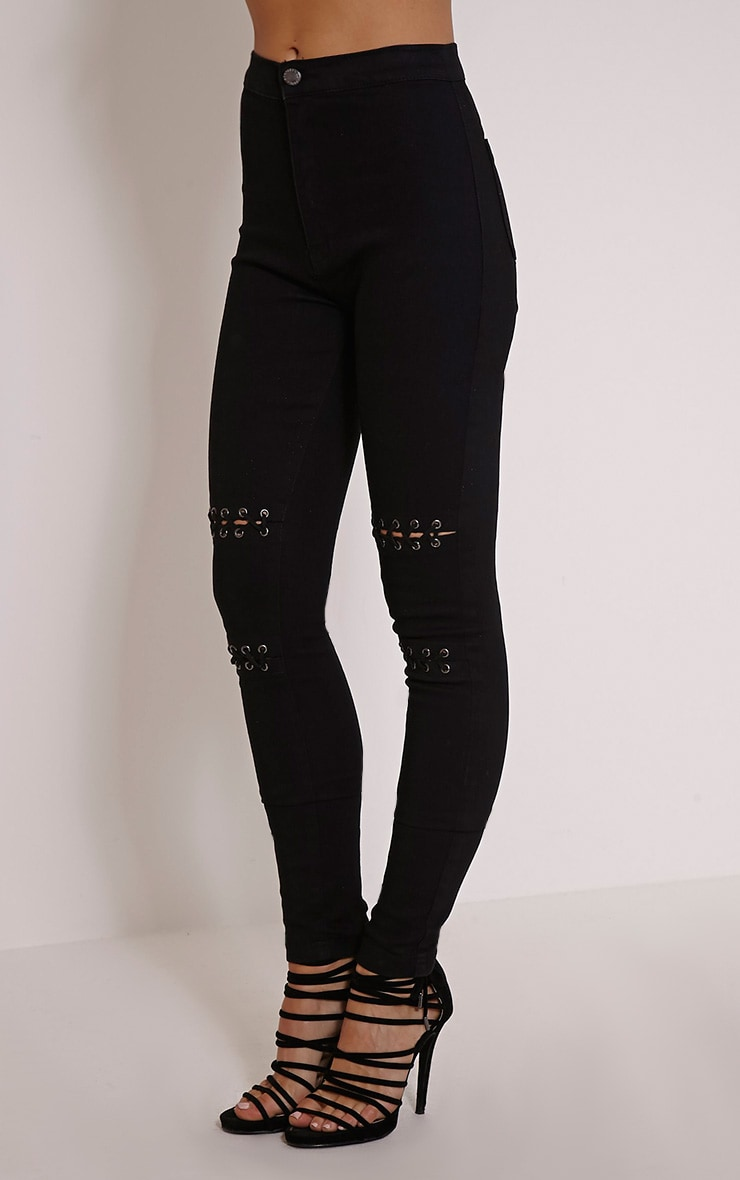 Palmira Black Lace Up Knee Skinny Jean 4