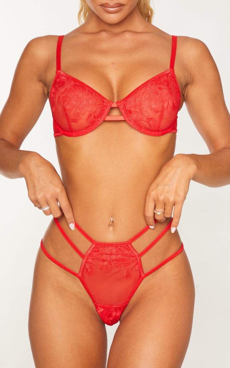 Red  Strappy Embroidered Mesh Thong 1