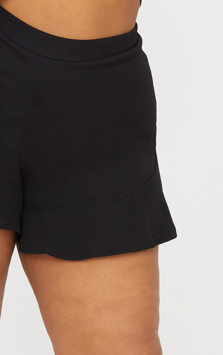 Plus Black Frill Hem Shorts 6