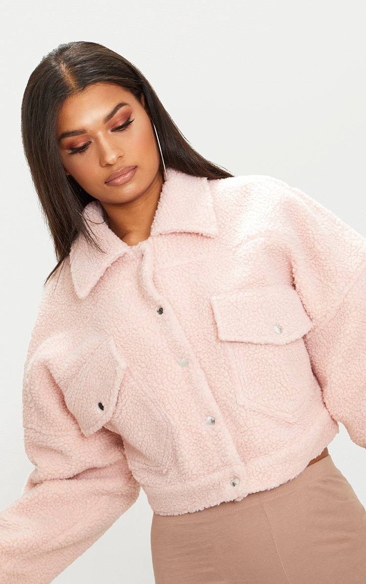 Blush Borg Cropped Trucker Jacket 3