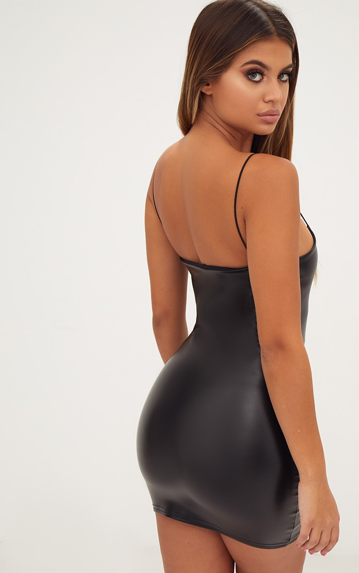 Black Strappy PU Bodycon Dress 2