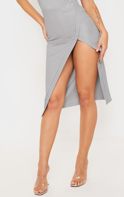 Grey Embossed Croc Extreme Split Midi Skirt