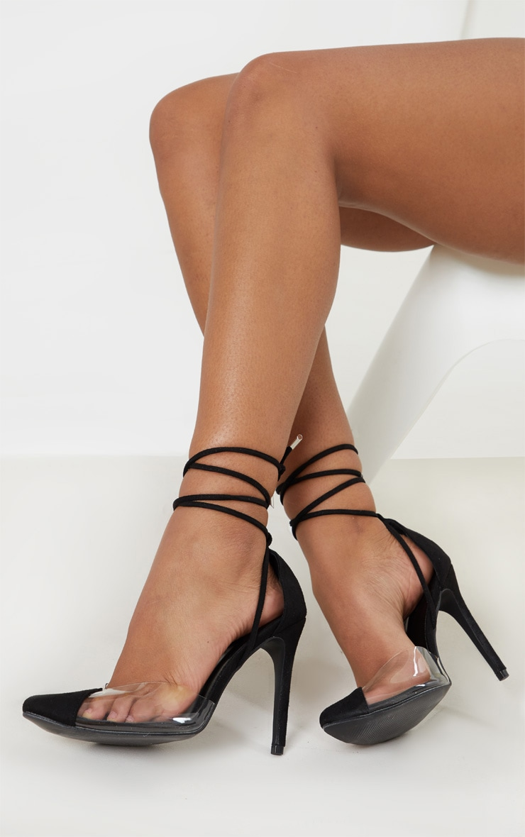 Black Clear Ankle Tie Court Shoe 2