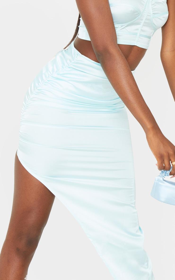 Tall Mint Blue Satin Ruched Side Midi Skirt 4