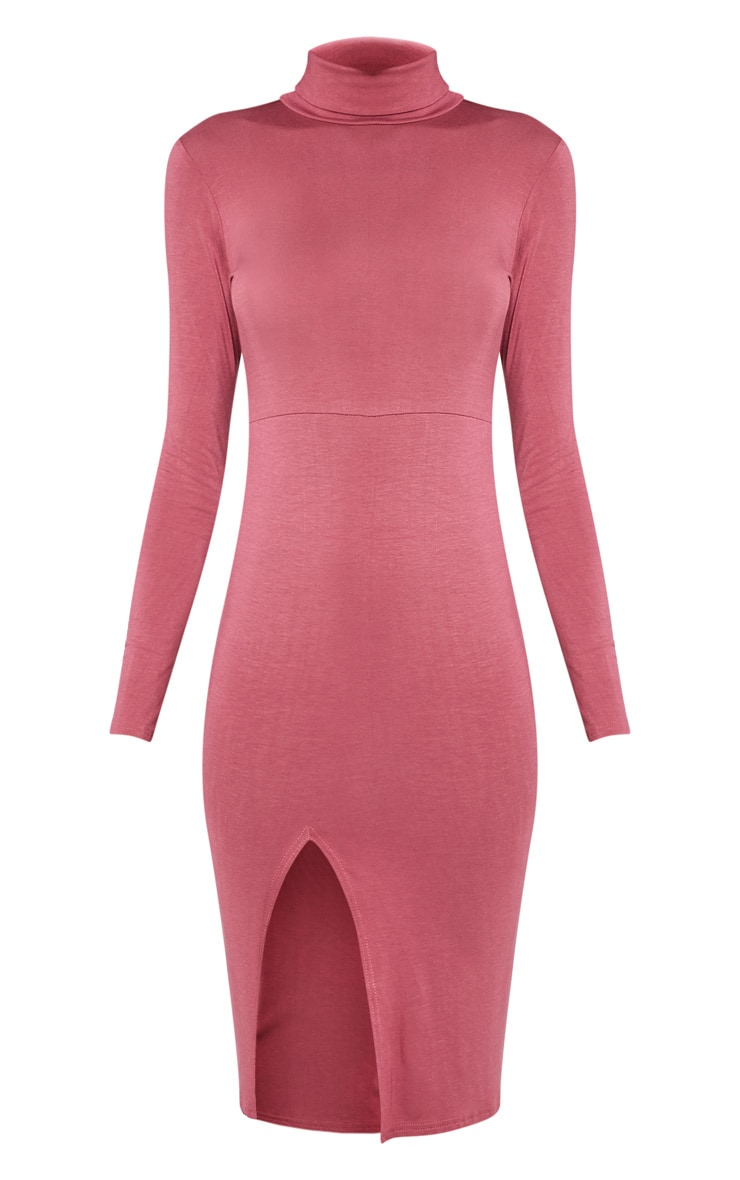 Sharia Rose Jersey Roll Neck Split Midi Dress 3