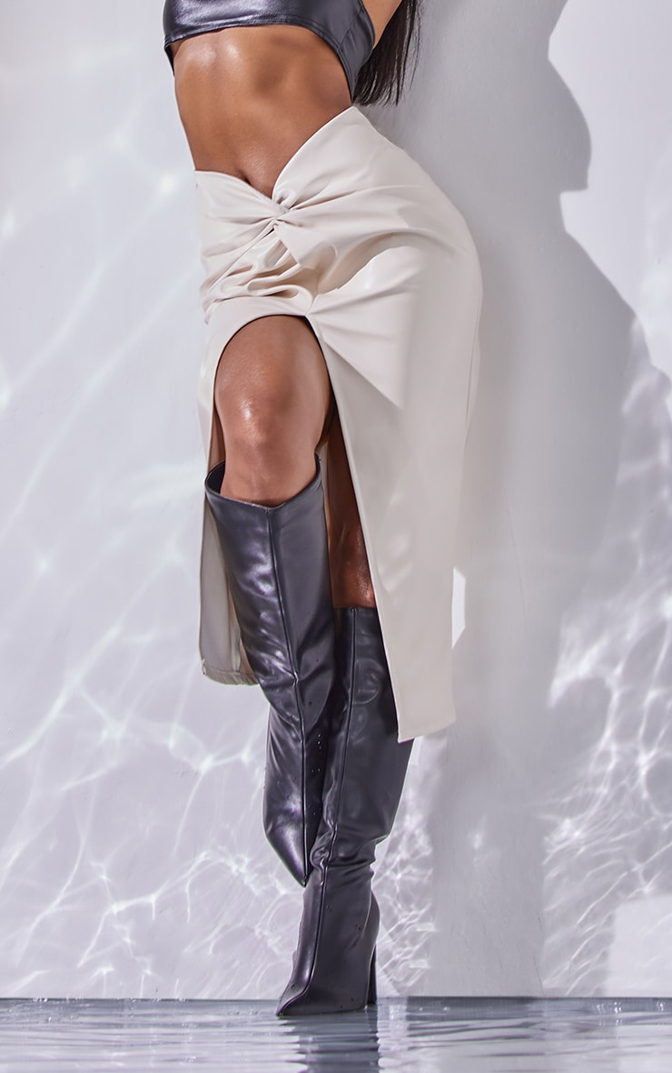 Cream Faux Leather Twist Front Midi Skirt 2