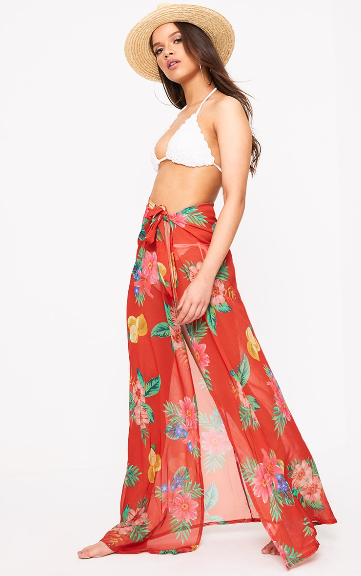 Orange Chiffon Tropical Floral Print Maxi Skirt  1