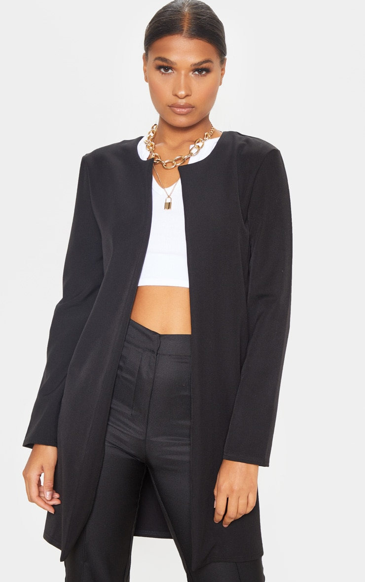 Black Collarless Longline Jacket 4