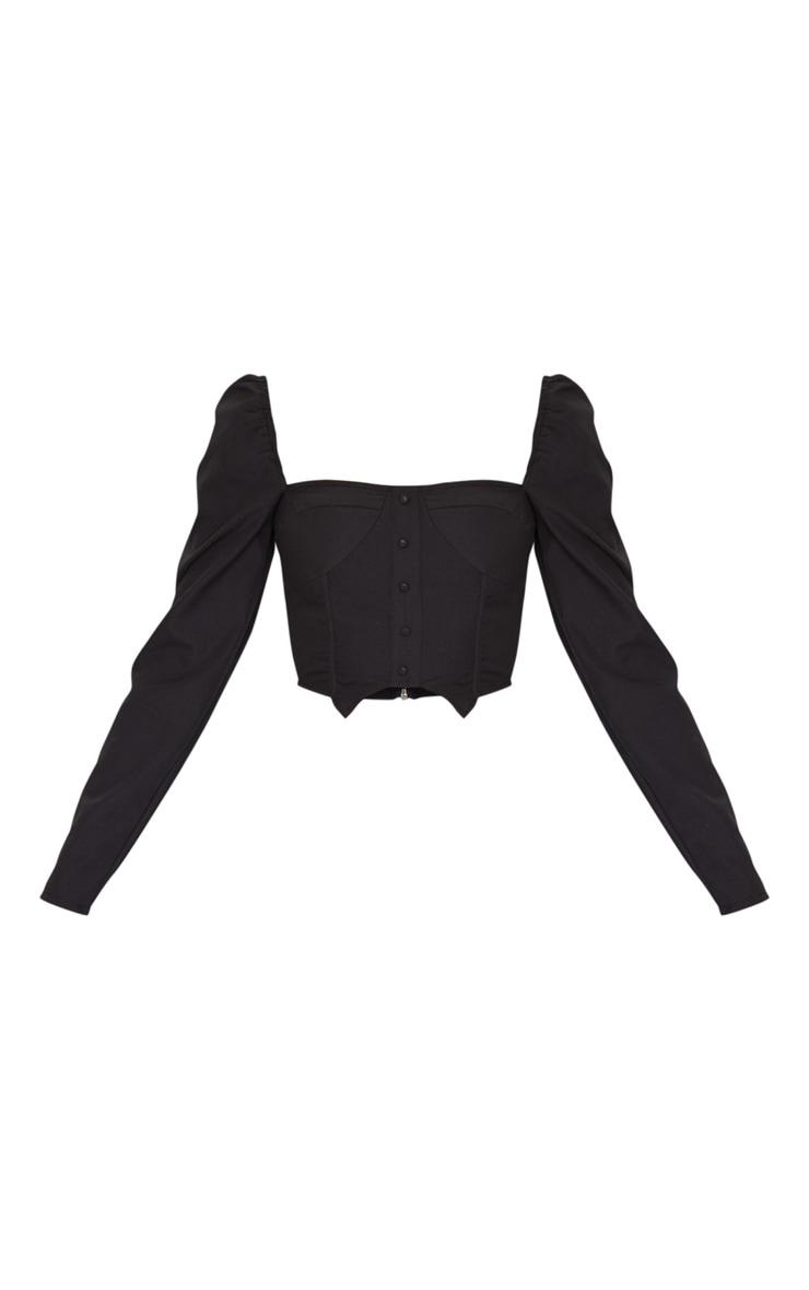 Black Woven Puff Long Sleeve Button Crop Top 5