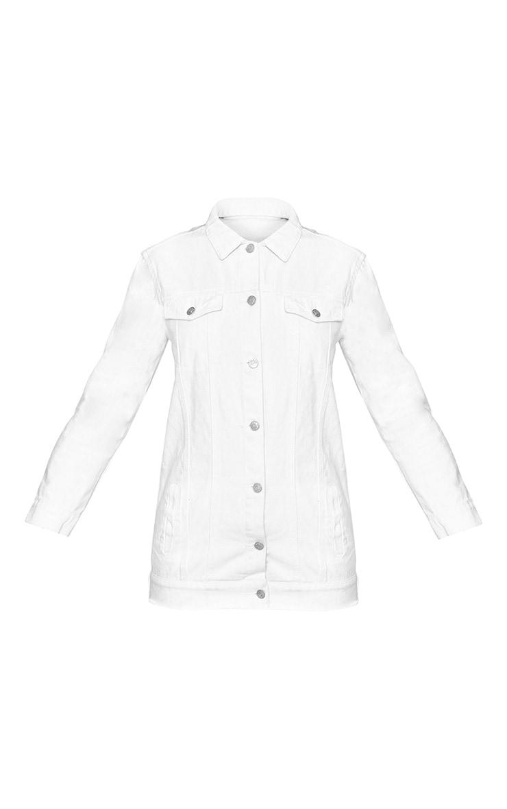 White Elbow Rip Denim Jacket 3