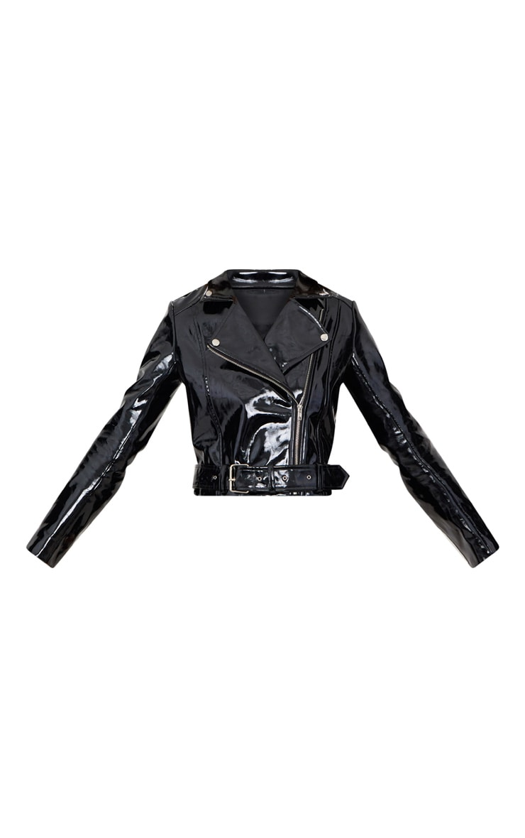 Black High Shine Vinyl Biker Jacket 3
