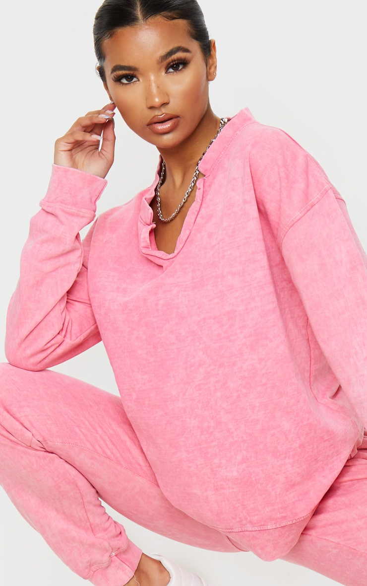 Light Pink V Neck Long Sleeve Washed Sweater 4