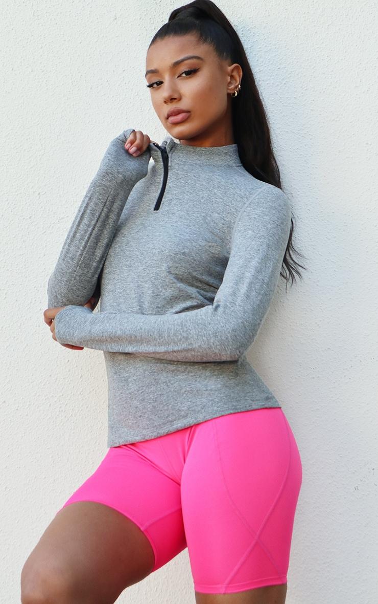 Light Grey Marl Fleece Lined Long Sleeve Gym Top 1