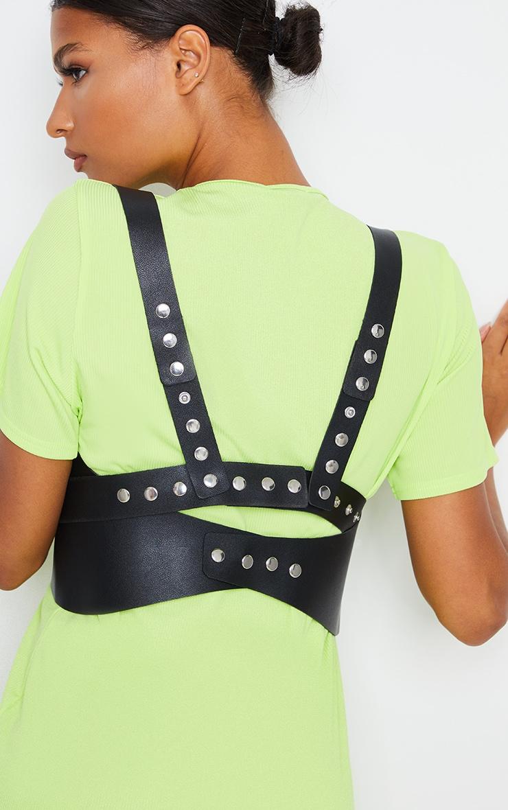 Black PU Cross Over Body Harness 2