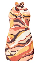 Multi Abstract Print Satin Underbust Detail Bodycon Dress 5
