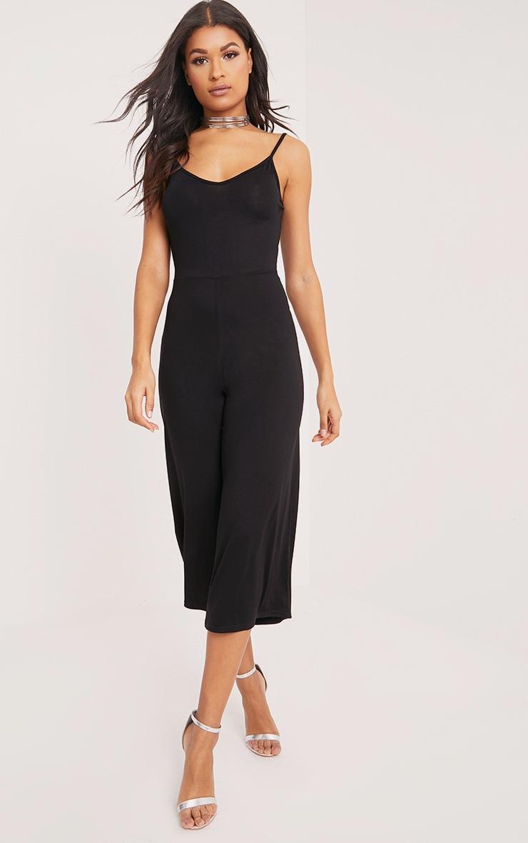 Kailyn Black Jersey Culotte Jumpsuit 4