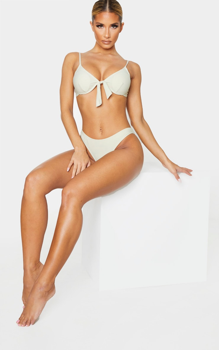 Sage Green Bow Front Cupped Bikini Top 4