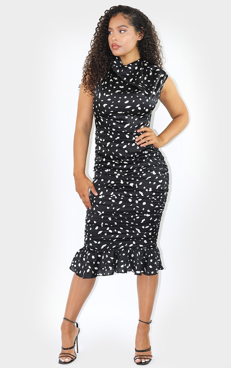 Black Dalmatian Print Sleeveless Ruched Fishtail Midi Dress 1