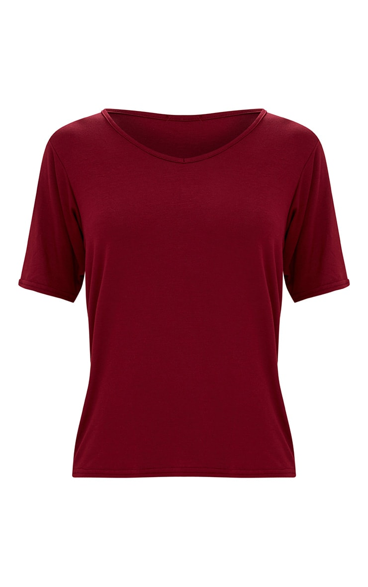 Basic Burgundy V Neck T Shirt 3