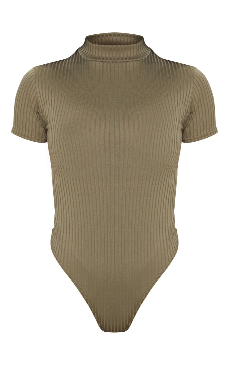 Khaki Ribbed High Neck Short Sleeve Bodysuit 5