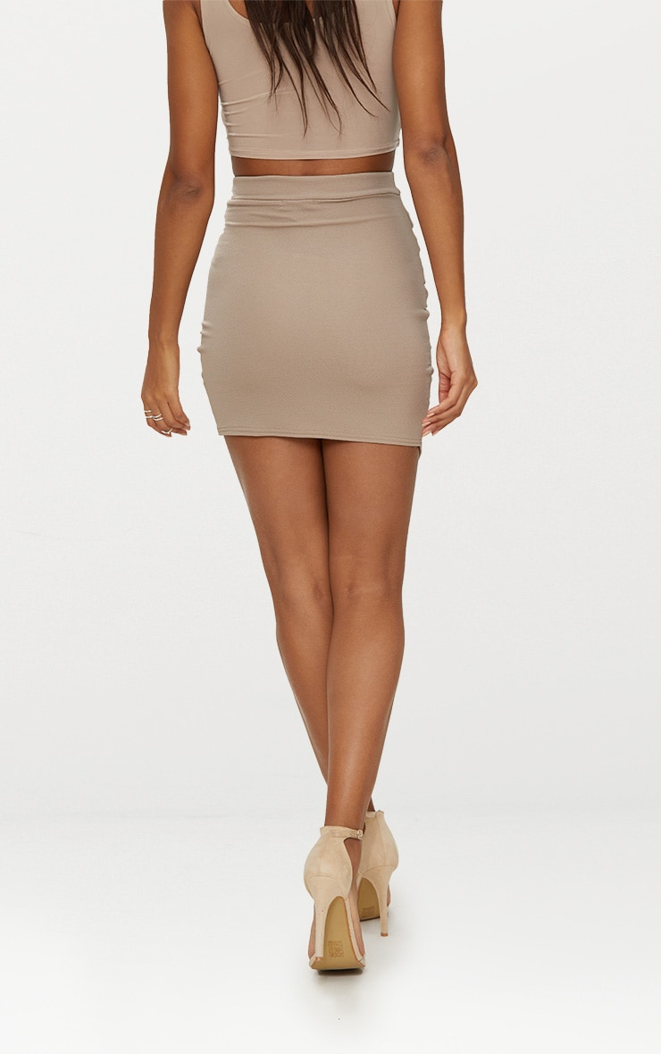 Taupe Ruched Wrap Mini Skirt 5