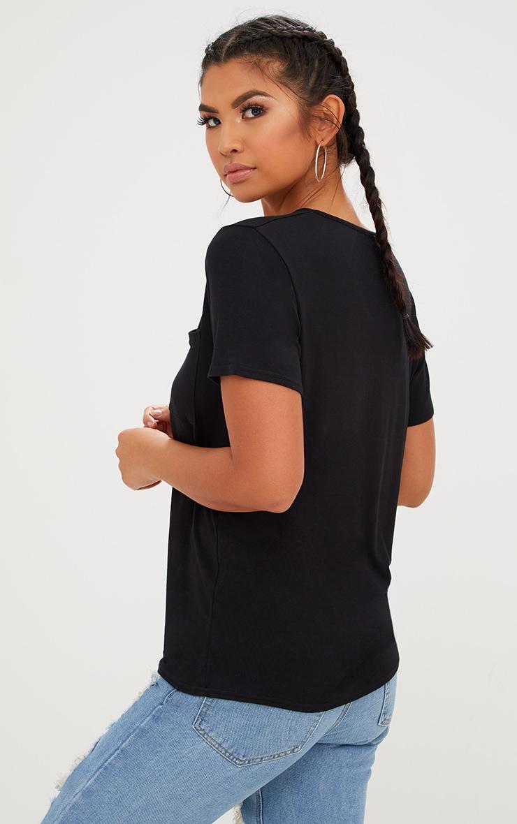Basic Black V Neck Pocket T Shirt 2